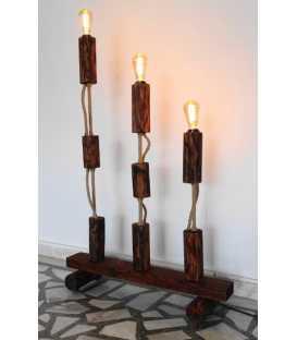 Stehleuchte aus Holz, Metall und Seil 207