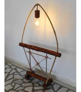 Wood, metal and rope floor lamp 212