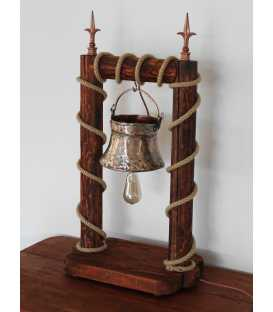Wood, old copper pot and rope table light 215