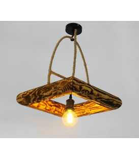 Wood, metal and rope pendant light 220