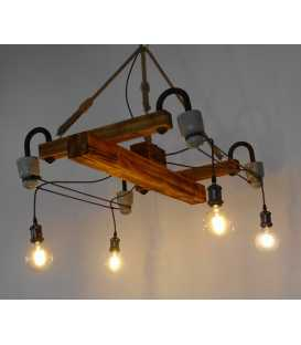 Wood, metal and rope pendant light 230
