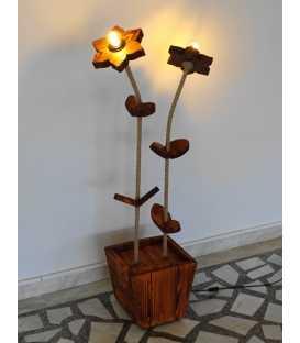 Wood, metal and rope floor lamp 258