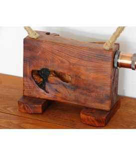Dekorative Tischleuchte aus Holz und Seil 293