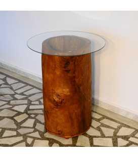 Holztisch mit Glasplatte und Lampe 027