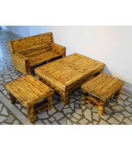 Pallet wood sofa set with table and two stools 024
