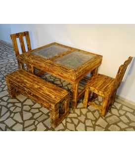 Pallet wood table set with two chairs and a bench 035