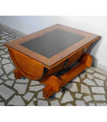 Τραπέζι από ξύλινο βαρέλι κρασιού με τζάμι