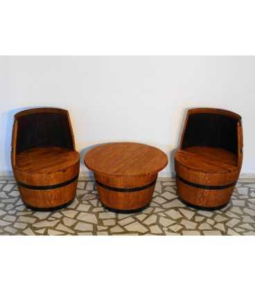 Weinfass Tischgarnitur mit 2 Sesseln 049