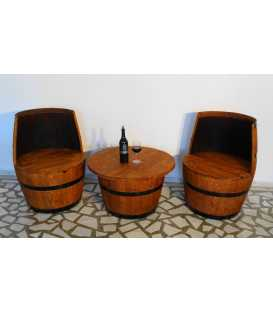 Wine barrel table set with 2 armchairs 049