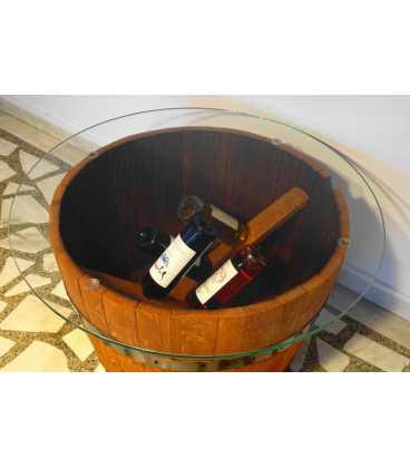 Weinfass Τisch mit Glasplatte 051