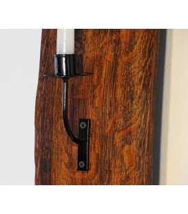 Wandkerzenhalter Holz/Metal aus Fassdaube 053