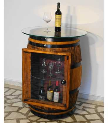 Wine barrel table-bar with glass top