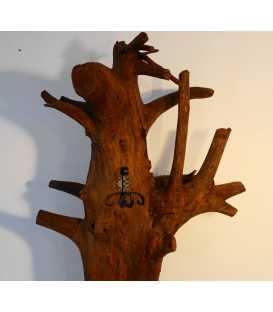 Garderobenständer aus Baumstamm mit Metallhaken 060