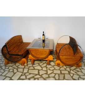 Wine barrel table set with 2 sofas 004