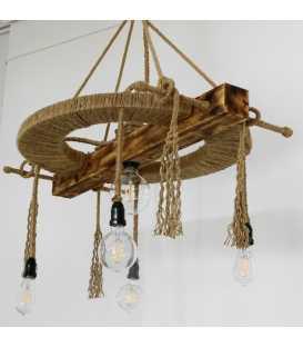 Κρεμαστό φωτιστικό οροφής από ξύλο, μέταλλο και σχοινή 065