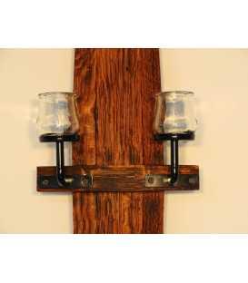 Wandkerzenhalter Holz/Metal aus Fassdaube 066