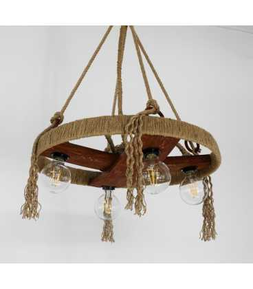 Κρεμαστό φωτιστικό οροφής από ξύλο, μέταλλο και σχοινή 067