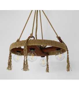 Holz, Metal und Seil hängende Deckenleuchte 067
