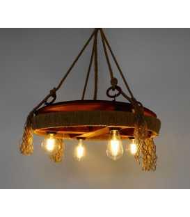 Κρεμαστό φωτιστικό οροφής από ξύλο, μέταλλο και σχοινή 068