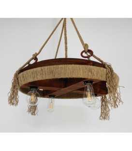 Holz, Metal und Seil hängende Deckenleuchte 068
