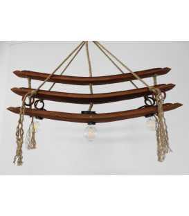 Holz und Seil hängende Deckenleuchte 071