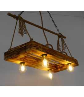 Κρεμαστό φωτιστικό οροφής από ξύλο και σχοινή 073