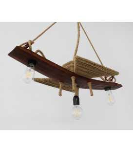 Holz und Seil hängende Deckenleuchte 074