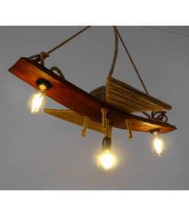 Κρεμαστό φωτιστικό οροφής από ξύλο και σχοινή 074