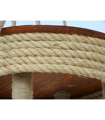 Κρεμαστό φωτιστικό οροφής από ξύλο και σχοινή 081