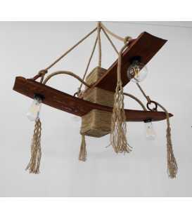 Holz und Seil hängende Deckenleuchte 082