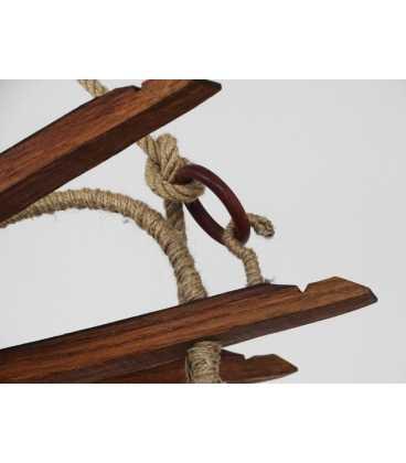Holz und Seil hängende Deckenleuchte 083