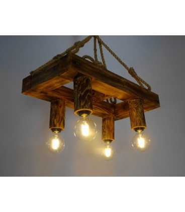 Wood and rope pendant light 084
