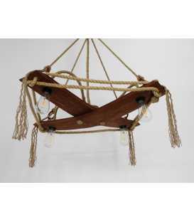 Holz und Seil hängende Deckenleuchte 085