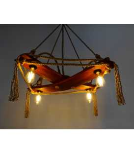 Wood and rope pendant light 085