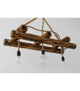 Wood and rope pendant light 093