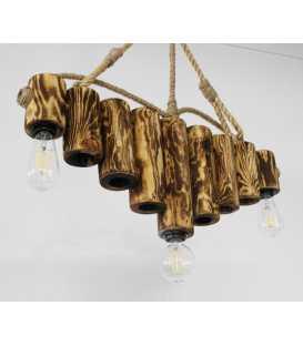 Κρεμαστό φωτιστικό οροφής από ξύλο και σχοινί 094