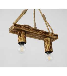 Κρεμαστό φωτιστικό οροφής από ξύλο και σχοινί 096