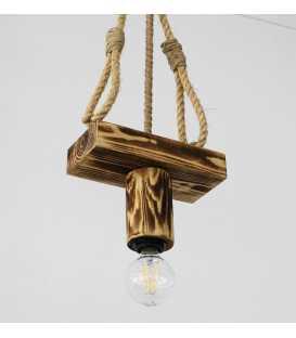 Holz und Seil hängende Deckenleuchte 097