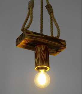 Wood and rope pendant light 097