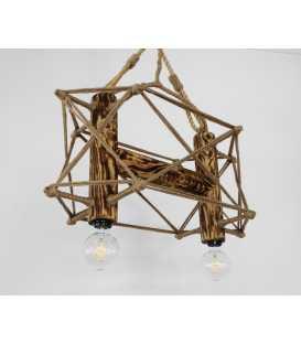Κρεμαστό φωτιστικό οροφής από ξύλο, μέταλλο και σχοινί 099