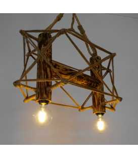 Μetal, wood and rope pendant light 099