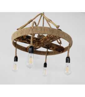 Holz, Metal und Seil hängende Deckenleuchte 101