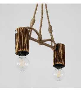 Κρεμαστό φωτιστικό οροφής από ξύλο, μέταλλο και σχοινί 105