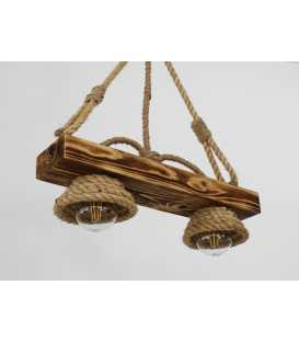 Wood and rope pendant light 110