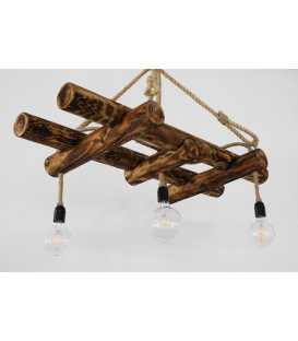 Holz und Seil hängende Deckenleuchte 117