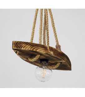 Holz und Seil hängende Deckenleuchte 118