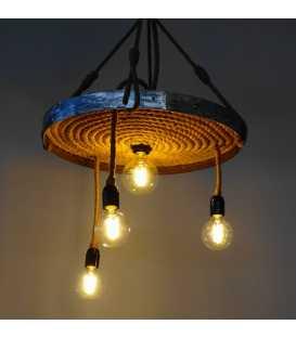 Κρεμαστό φωτιστικό οροφής από μέταλλο και σχοινί 146