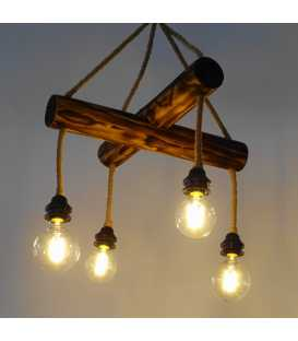 Wood and rope pendant light 147