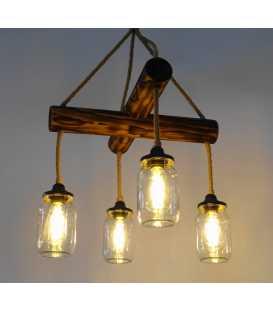 Wood, rope and jar pendant light 148