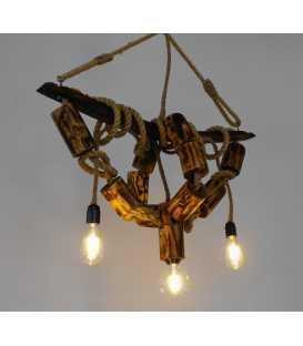 Κρεμαστό φωτιστικό οροφής από ξύλο και σχοινί 153